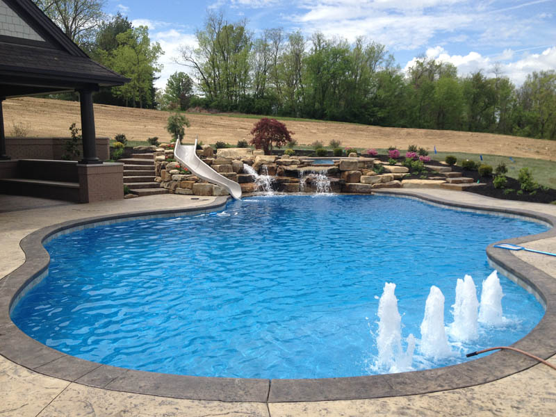 Water features mid american gunite pools for Pool design water feature